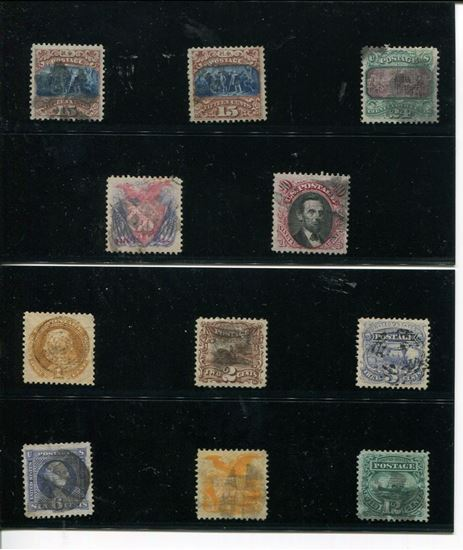 Picture of COMPLETE SET OF WELL-CENTERED 1869 USED SCOTT 112-122 W/ CERTS!