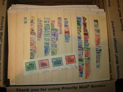 Picture of LARGE GROUP VARIOUS WORLD STAMPS ON 100s OF MANILA PAGES!